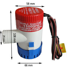 "Newly 3A 1100GPH 12V Submersible Marine Boat Electric Bilge Pump 1-1/8"" Outlet"