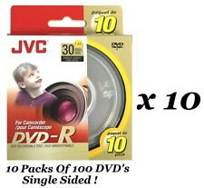 100 PCS JVC DVD-R 30 MIN 1.4 GB SINGLE SIDED DVD RECORDABLE DISK FOR CAMCORDER