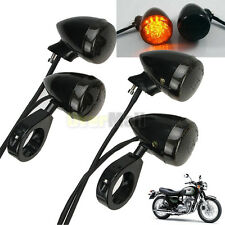 4x Black Front Fork Clamp Rear Motorcycle LED Turn Signal Light 41mm For Harley