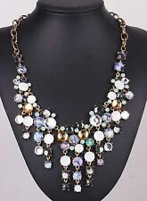 Fashion Glass Crystal Statement chunky ancient silver Acrylic shell Necklaces 1