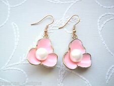 *BLUSH BLOSSOM FLOWER PEARL* Rose Gold Plated Drop Earrings VINTAGE STYLE Peach