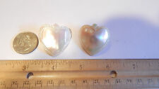 VTG 1940s MOTHER OF PEARL HEART EARRINGS APP 32MM WITH POST NOS LOOK