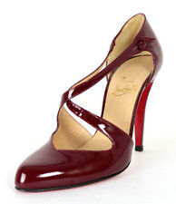 CHRISTIAN LOUBOUTIN $795 Cranberry Red Patent TRICLO 100 Heels Pumps 38.5