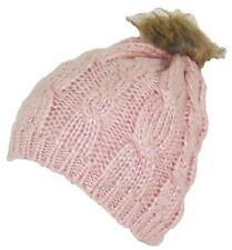 BWH Cable & Rib Knit Skull Beanie W/Sequins & Faux Fur Pom Pom, Hat, #703 Pink