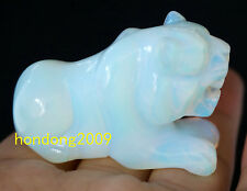 Rare Moonstone Gemstone Hand Carved Tiger Figurine