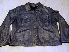 Ladies CHICO'S Button Up Jean Jacket Metallic Silver sz 3 (XL -16-18) all cotton