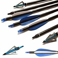12 Archery  Arrow on/off & 6 Broadheads For Field & Target,