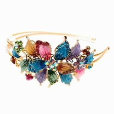 New Colorful Crystal Rhinestone gold tone metal big Flower design Headband #1212