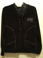 BCBG MAXAZRIA Full Zip Hoodie $180 BCRV13585J Black Med Women's Embellished New