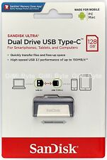 SanDisk 128 GB Ultra Dual Drive USB 3.1 Type-C SDDDC2 128G FLASH THUMB KEY STICK