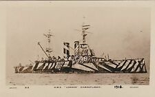 "Royal Navy Real Photo Postcard. HMS ""London"" Battleship. Camouflaged. c 1918"