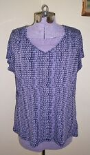 "Women's Size XL Worthington Top Blouse Shirt Tunic 46"" Bust Lavender Black"