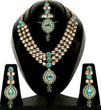 Gold Tone Kundan Turquoise Set Necklace CZ Tikka Earring Wedding Bridal Jewelry