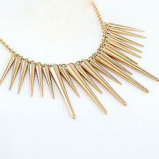 Hot Fashion Collares Gold Plated Spike Steampunk Pendant Necklace Jewelry
