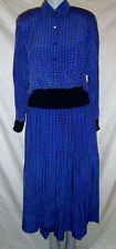 GUY LAROCHE BOUTIQUE PARIS VTG 2 PC BLUE SILK SKIRT SUIT MADE IN FRANCE 40 US 10