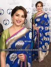 Bollywood Designer Sarees- Blue Silk Foil Print Party Wear Saree