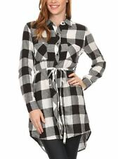 Long Sleeve Plaid Cotton Flannel Button Down Belted Tunic Shirt Dress S ~ L