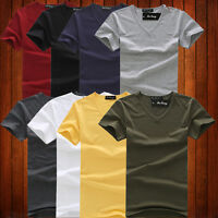 NEW Mens Cotton Slim Fit Solid color T Shirt Short sleeve Tee V-Neck Muscle Top