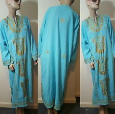 Turkish Blue Cotton Gold Embroidered Kaftan Dress Size 14 16 Day Full Length