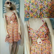 BNWT Rubee B Floral Summer Festival Cut Out sundress Dress Size 6 8 Orange Pink