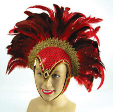 Red Feather Helmet With Jewel Las Vegas Show Girl Drag Queen Carnival Fancy Dres