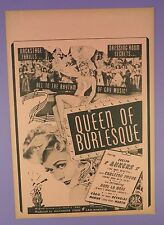 Queen Of Burlesque Starring Evelyn Ankers - Original 1946 Broadside Movie Poster