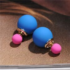 Fashion Women Gold Pld Candy Color Double Pearl Elegant Ear Stud Girls Earrings