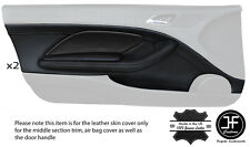 BLACK STITCH 2X FRONT DOOR CARD TRIM LTHR COVERS FITS BMW E46 CONVERTIBLE COUPE