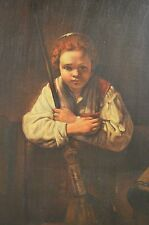 "ESTATE FIND Quality ""Rembrandt"", ""Girl With A Broom"" Reproduction Oil on Canvas"