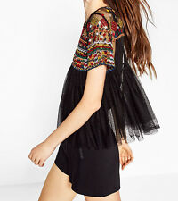 Zara size L Ethnic EMBROIDERED Blouse tunic top plumetis chemisier tunique broderie