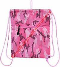 Drawstring Backpack Cinch Pack Pink Camo Camouflage Rhinestone Embroidery Option