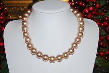 LARGE BOLD RUNWAY MONET STRAND NECKLACE OF FAUX ACRYLIC CREAM COLORED PEARLS