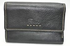 Fossil Black Genuine Soft Pebbled Leather Tri-Fold Multi-function Wallet