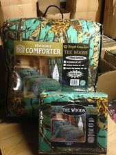 7 PC SEAFOAM GREEN CAMO COMFORTER AND SHEET SET KING CAMOUFLAGE WOODS