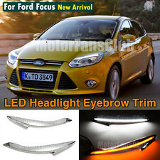 LED Headlight Eyebrows Eyelids Trim Cover DRL For Ford Focus Turn Signal 2011 UP