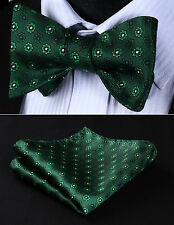 BF605GS Green Floral Bowtie Men Silk Self Bow Tie handkerchief set