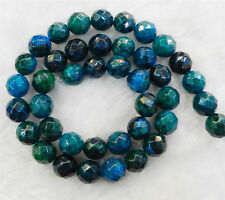 """8mm Faceted Azurite Chrysocolla Gemstones Round Loose Beads 15"""" Strand"""