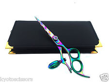 "Professional Hairdressing Scissors Thumb Swivel Shears 6.0"" Multi Stripe + Case"