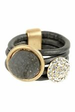 Saachi BETHANY Gunmetal Leather Ring * Size 8 * New with Tags