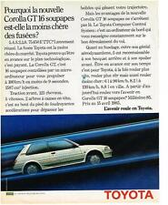 PUBLICITE ADVERTISING  1985   TOYOTA   COROLLA GT 16 soupapes