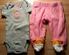 """Girl's Size P Preemie Two Piece Carter's Gray """"Loved"""" Giraffe Top & Pink Pants"""