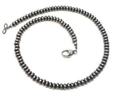 "16"" Navajo Pearls Sterling Silver Roundel Beads Necklace By Vangie Touchine 5mm"