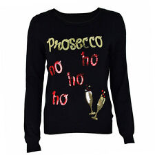 Womens Long Sleeve Novelty Christmas Prosecco Jumper Pullover Xmas Sweater Tops