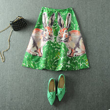 1980s rabbit print green retro skirt vintage tea dress S,M,L