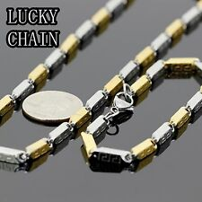 """24""""STAINLESS STEEL SILVER GOLD BULLET CHAIN NECKLACE BRACELET SET 72g C125"""