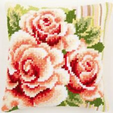 Pink Roses 1 - Large Holed Tapestry Cushion Kit/Printed Chunky Cross Stitch