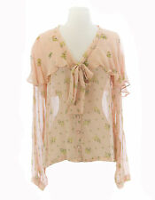TOPSHOP Women's Nude Peach Floral Button Up Pussybow Blouse 13N73Y US Size 4 NWT