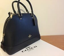 NWT Coach Sierra Satchel Dome In Crossgrain Leather Black Dome Purse F37218
