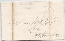 * 1826 J G JOHNSON LONDON LETTER EX GEORGES (COFFEE HOUSE) RE ASHBOURNE NEW ROAD