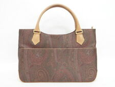 SALE! Auth ETRO Ladies Hand Bag Leather Paisley Italy Free Ship 21130545200 L26B